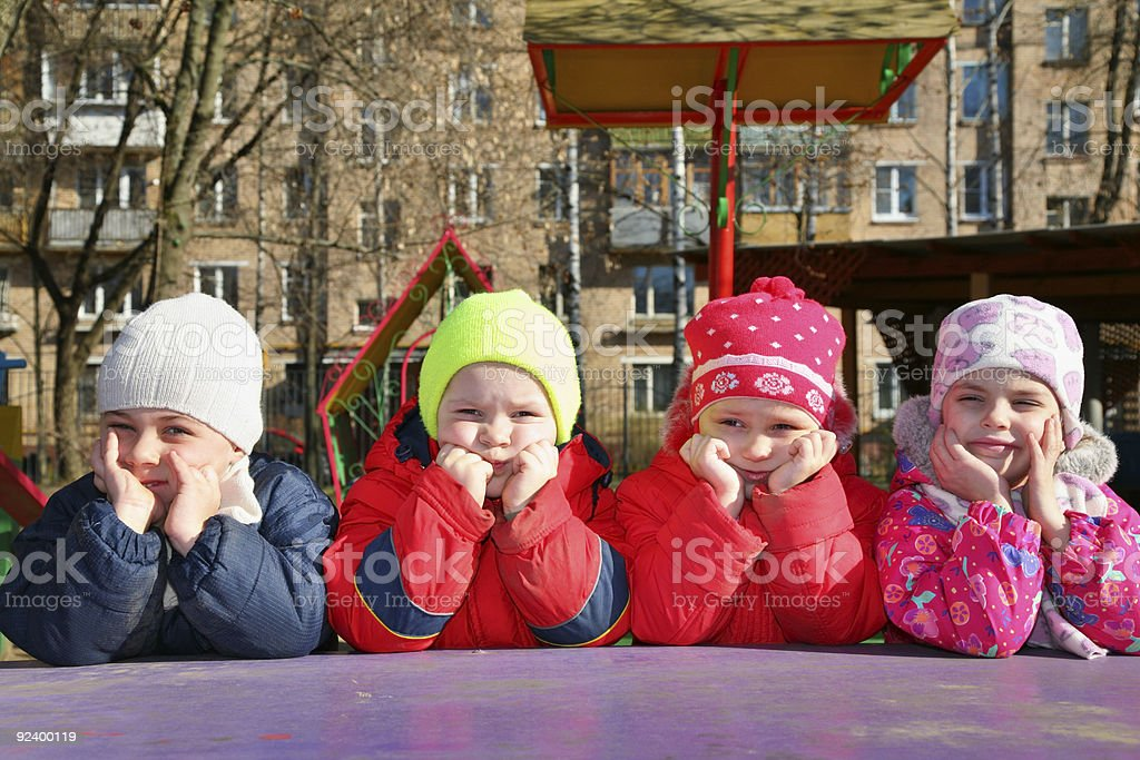 bored team in kindergarten royalty-free stock photo