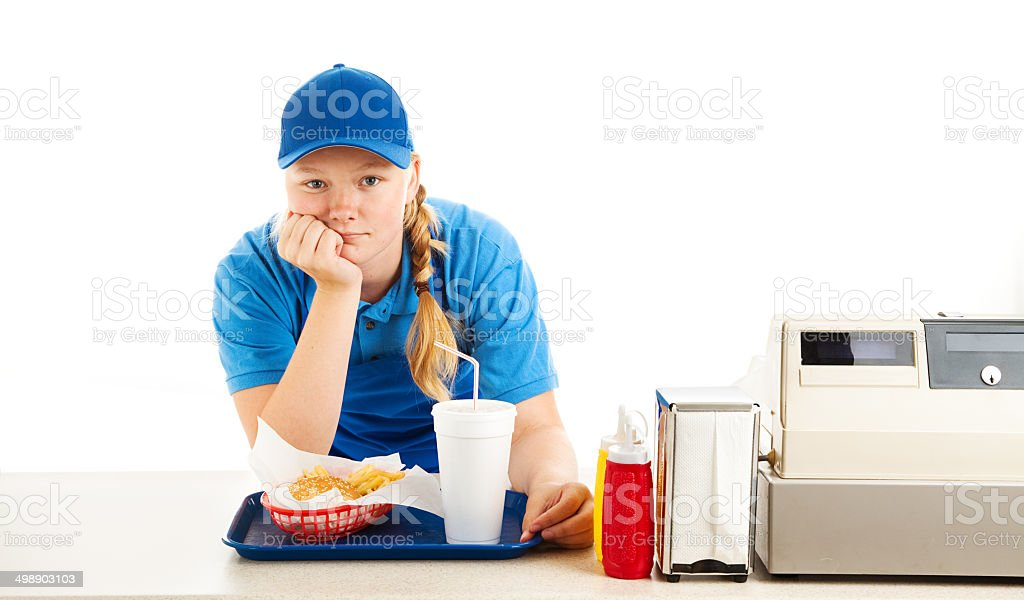 Bored Teen Fast Food Worker stock photo