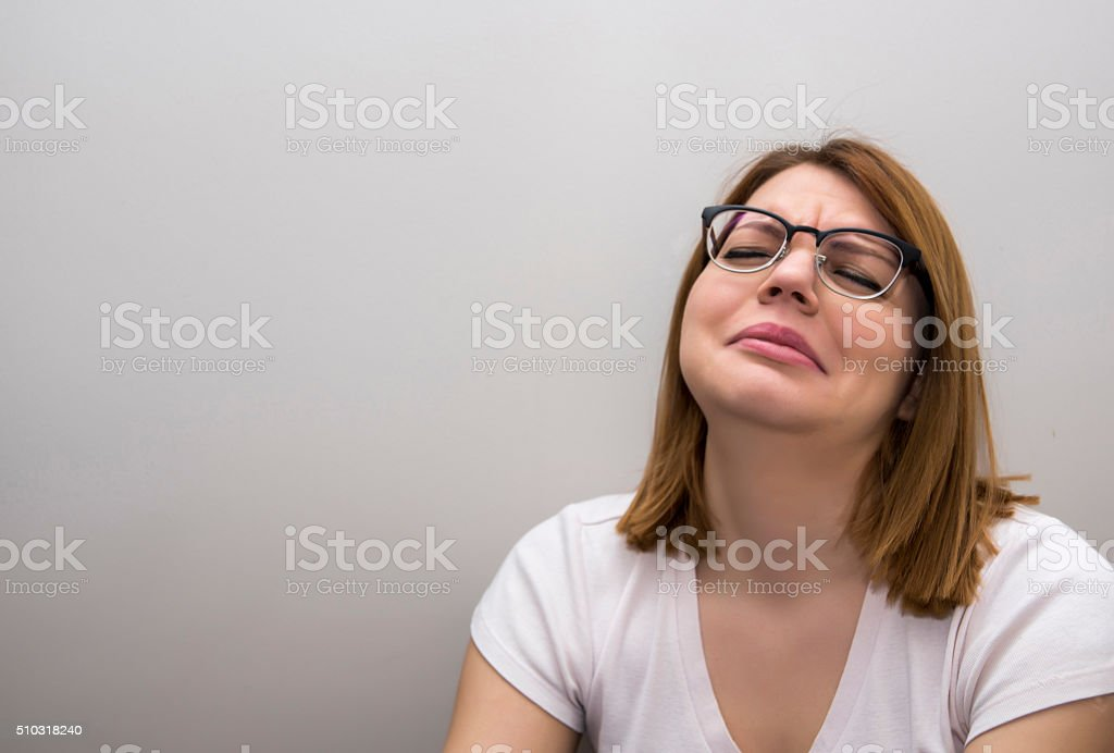 Bored tired frustrated young woman stock photo