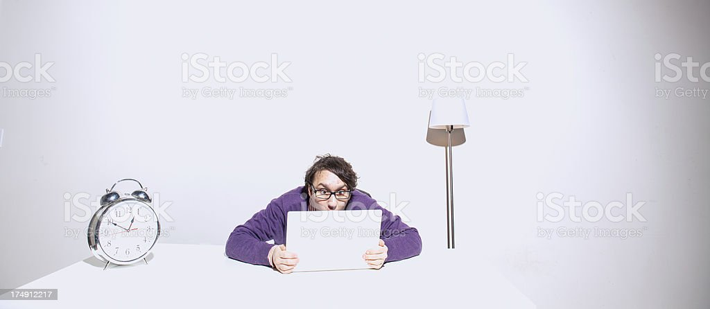 Bored White Room Computer Guy royalty-free stock photo