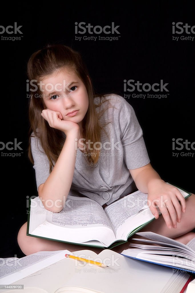 Bored with Bookwork royalty-free stock photo