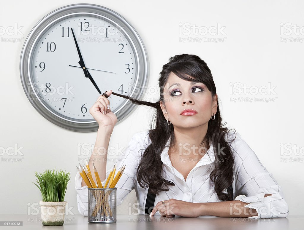Bored woman at end of the day stock photo