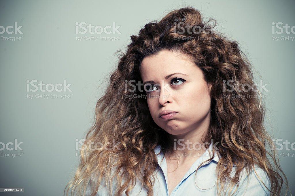 Bored woman stock photo