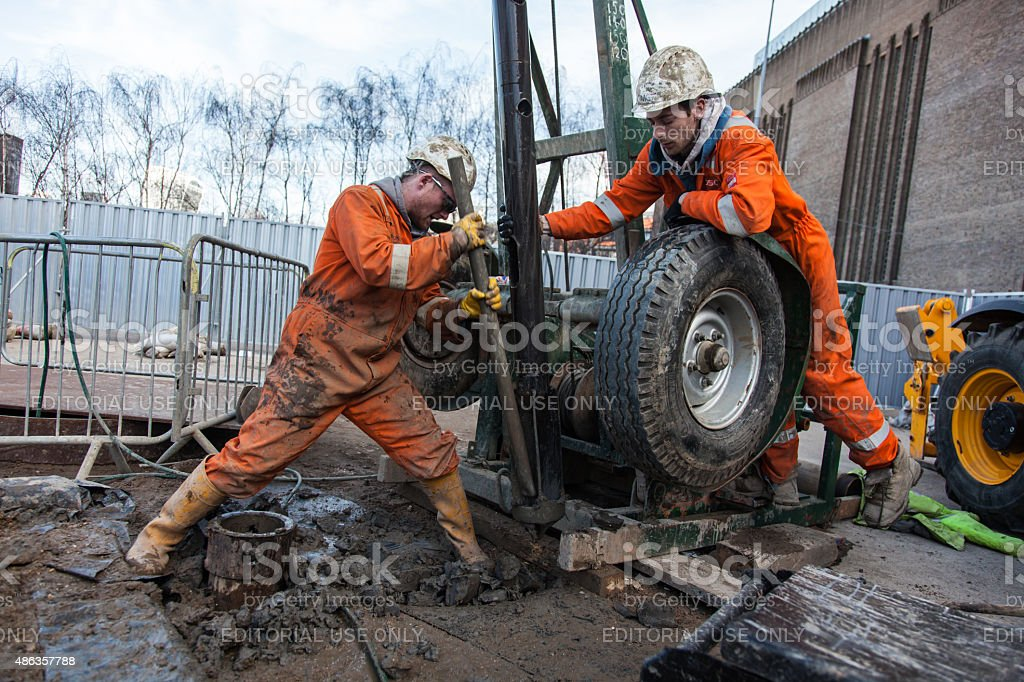 borehole drilling rig stock photo