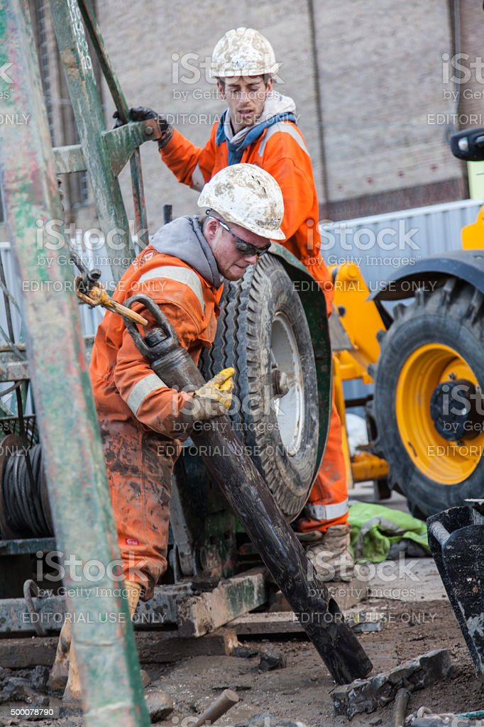 borehole drilling rigon a construction site stock photo