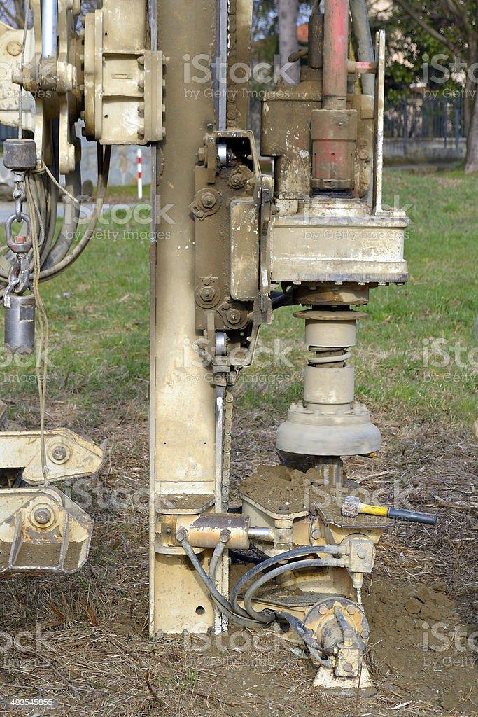 Borehole for soil testing stock photo