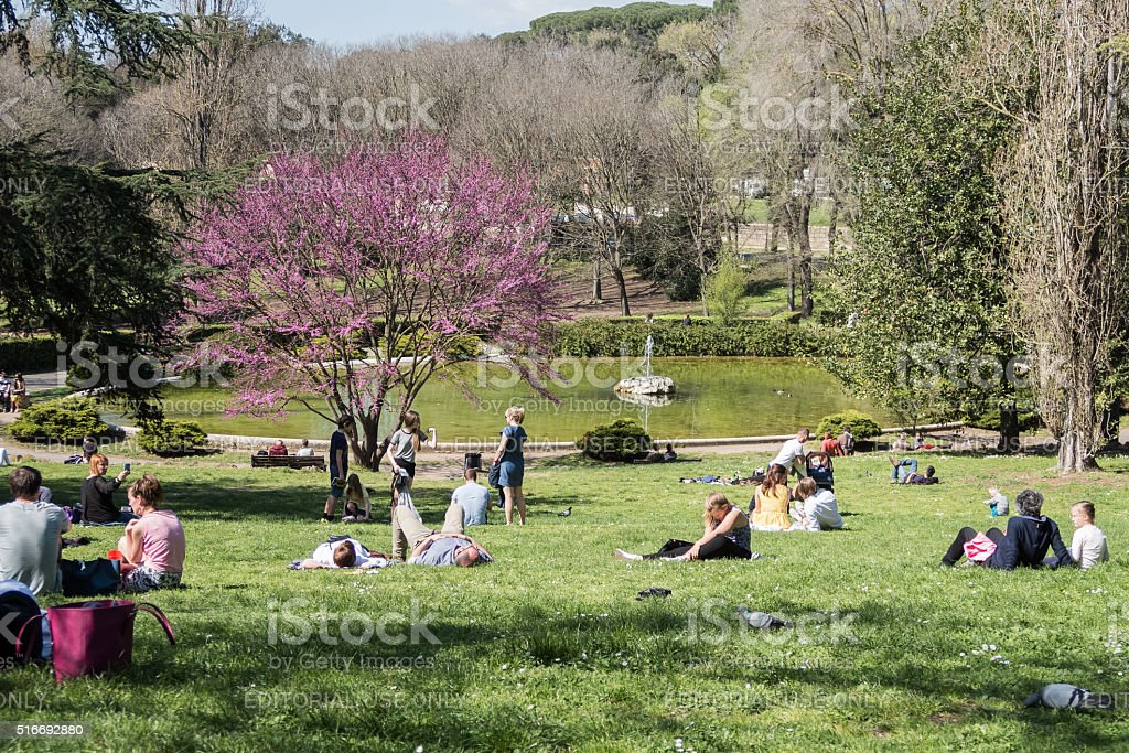 Borghese gardens. Scenes from Rome at Easter stock photo