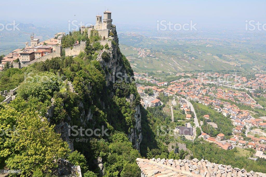 Borgo Maggiore and La Rocca o Guaita in San Marino stock photo