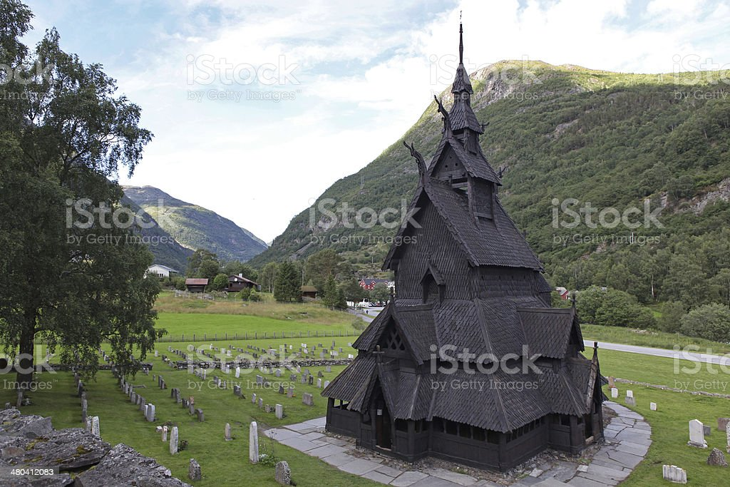 Borgund Stave church, Norway royalty-free stock photo