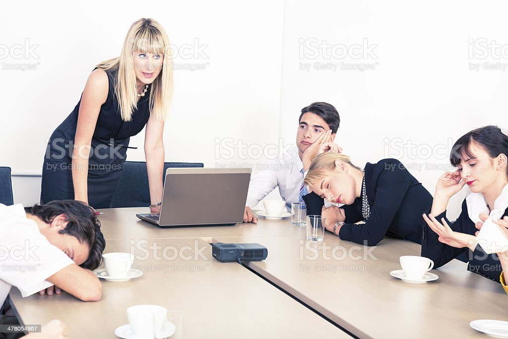 Boring business meeting stock photo