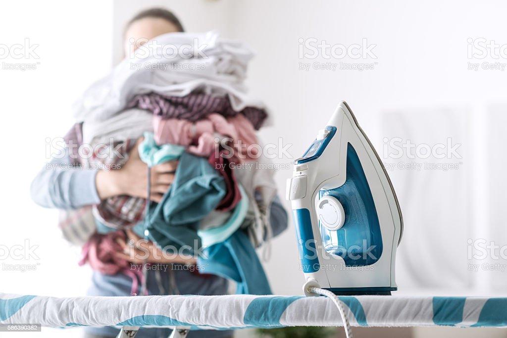 Boring household chores stock photo
