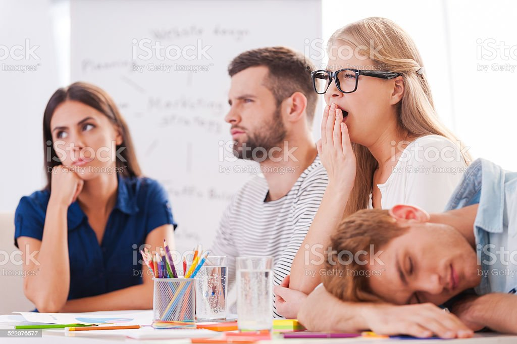 Boring presentation. stock photo