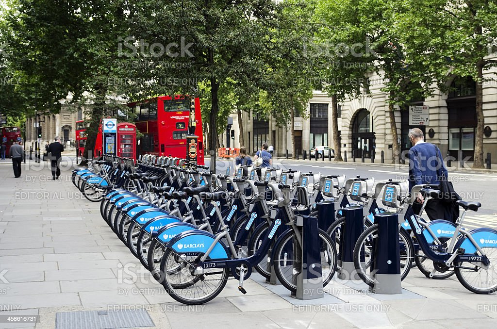 'Boris Bikes' in The Strand, London stock photo