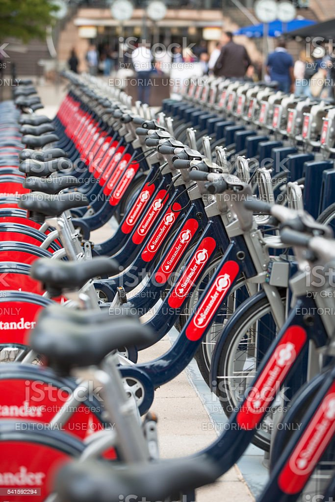Boris bikes parking in Canary Wharf. London stock photo