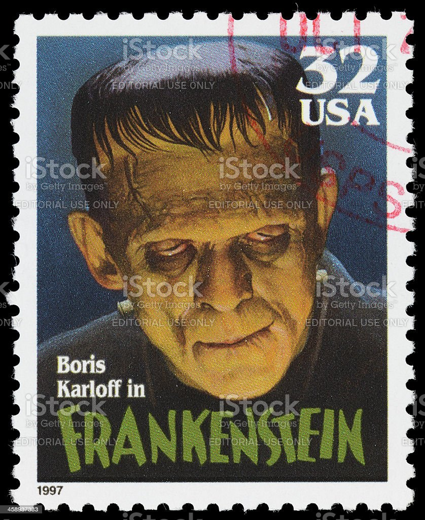 USA Boris Karloff Frankenstein postage stamp stock photo