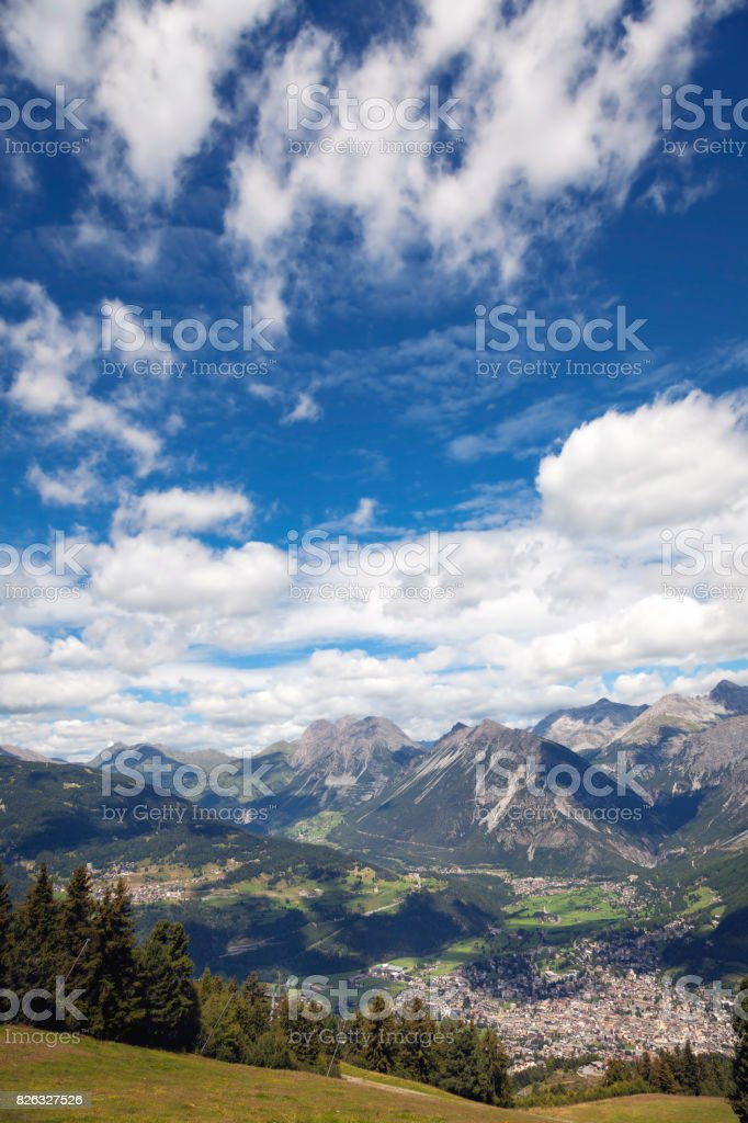 Bormio and Valtellina summer panorama. Color image stock photo