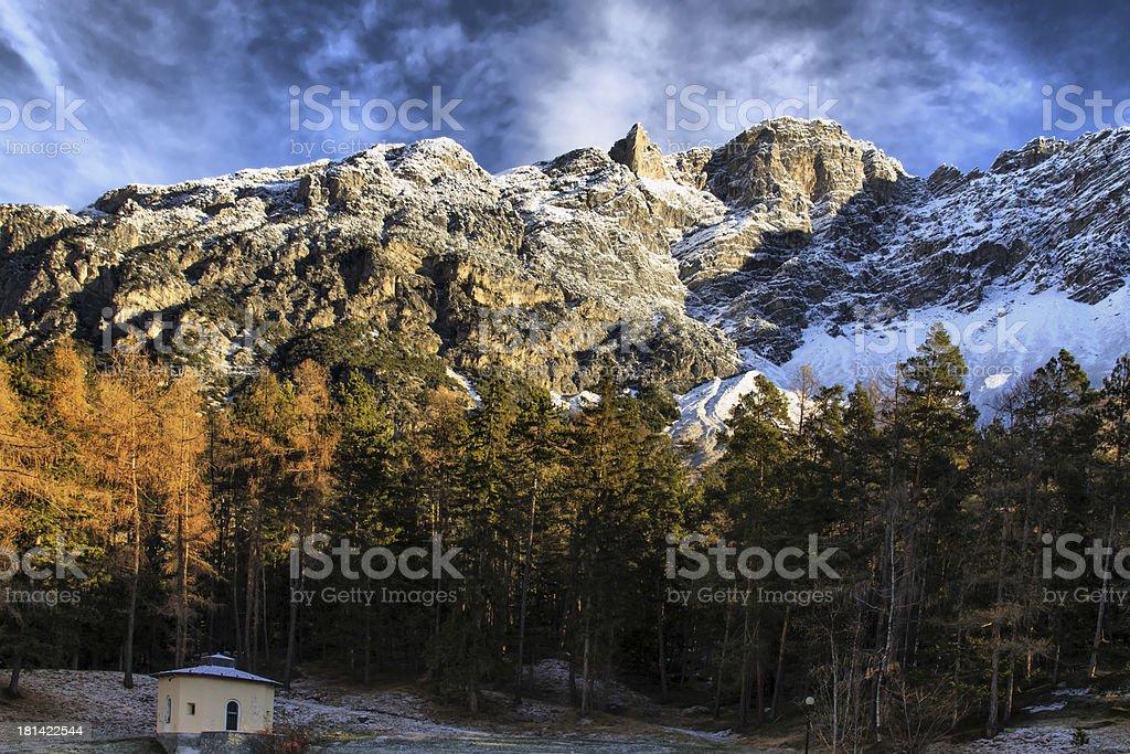 Bormio (Italy) - Panoramic view with first snow of season stock photo