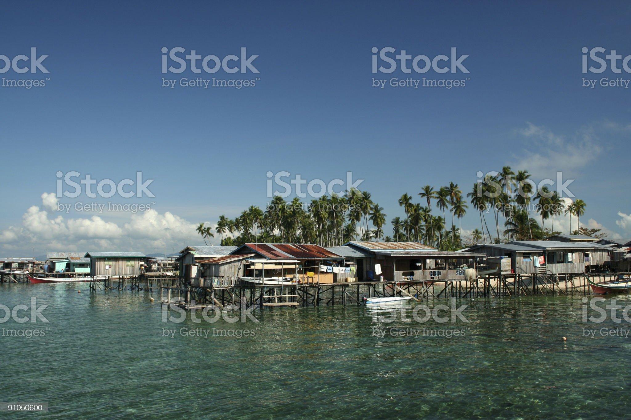 borneo fishing village mabul island royalty-free stock photo