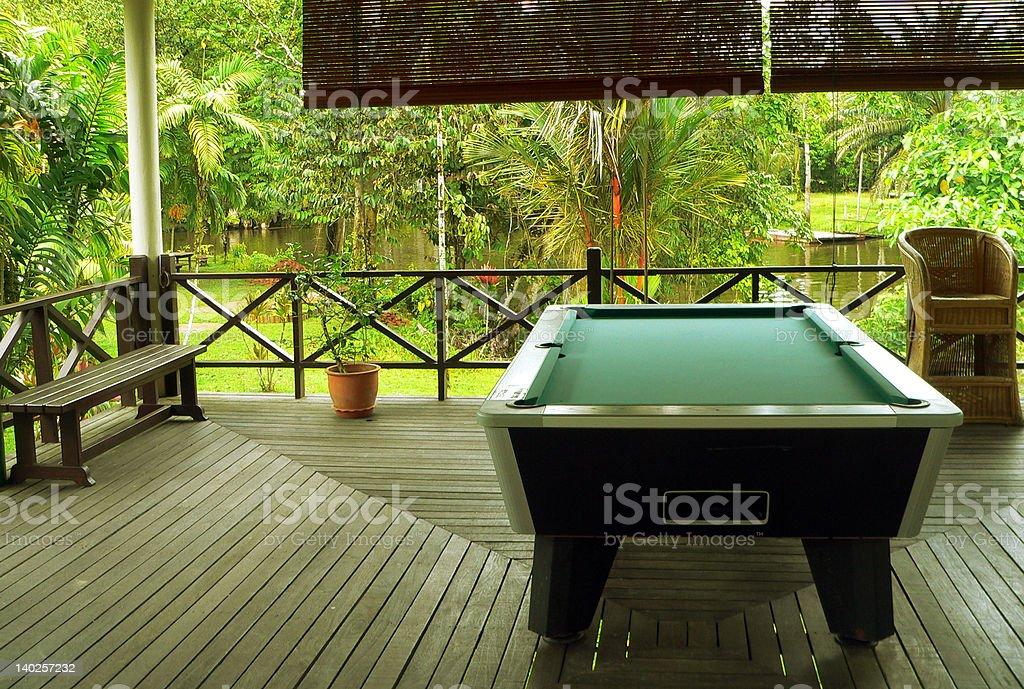Borneo. Jungle Lodge Pool Table royalty-free stock photo