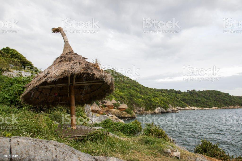Borneo style huts at Koh Sichang,Chonburi,Thailand stock photo