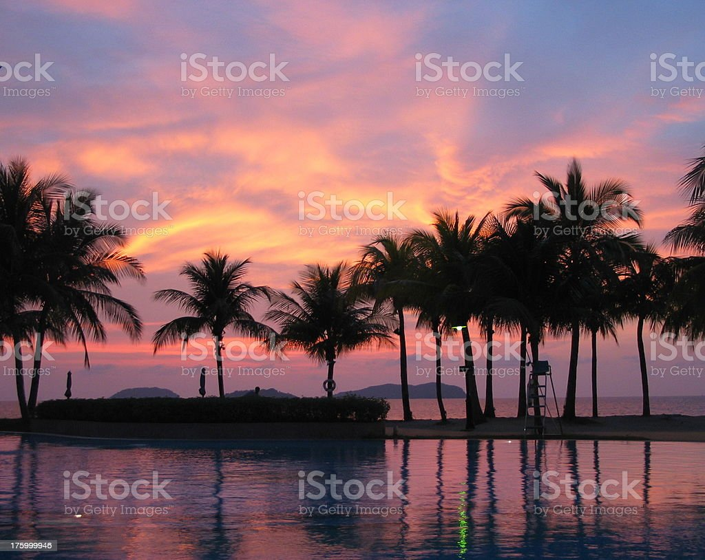 Borneo Sunset off Kota Kinabalu 3 royalty-free stock photo
