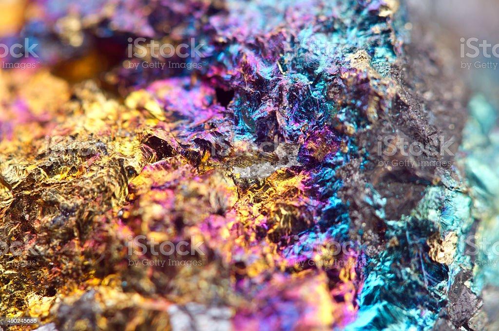 Bornite, also known as peacock ore, is a sulfide mineral stock photo