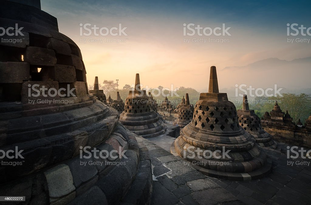 Borobudur at sunrise stock photo