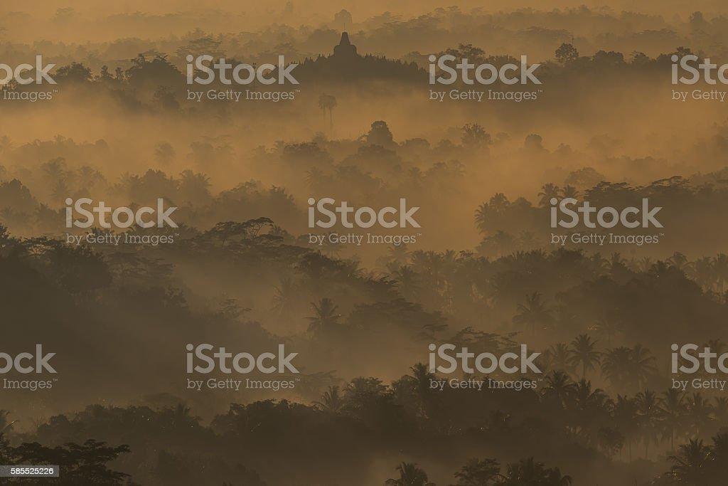 Borobudur seen from Setembu hill stock photo