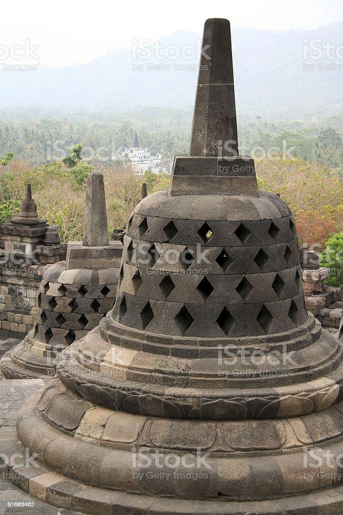 borobudur stupas royalty-free stock photo