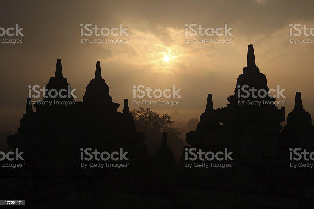 Borobudur Sunrise royalty-free stock photo