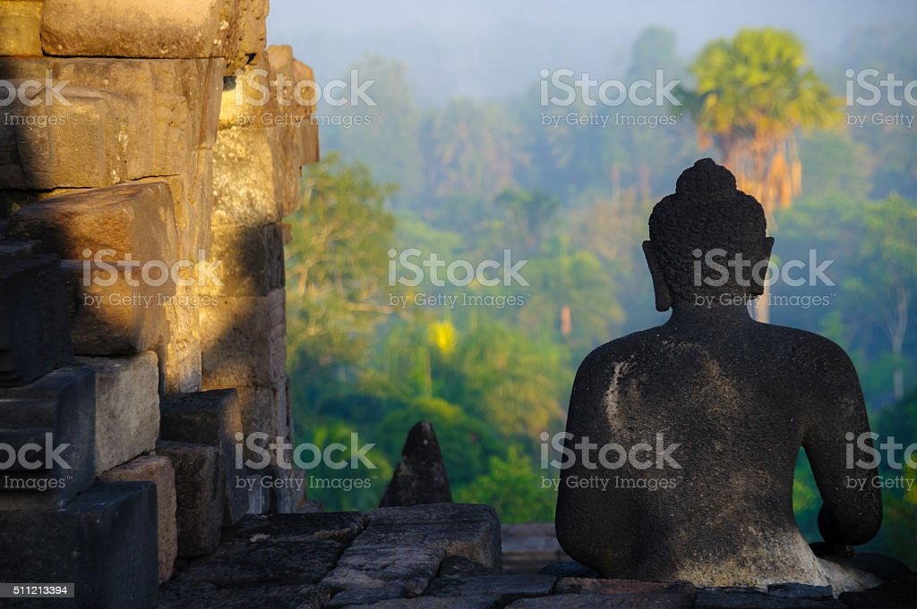 borobudur sunrise, unesco world heritage site, java, indonesia stock photo