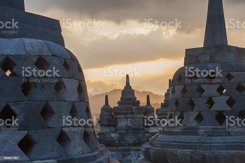Borobudur temple at sunrise, Java, Indonesia royalty-free stock photo