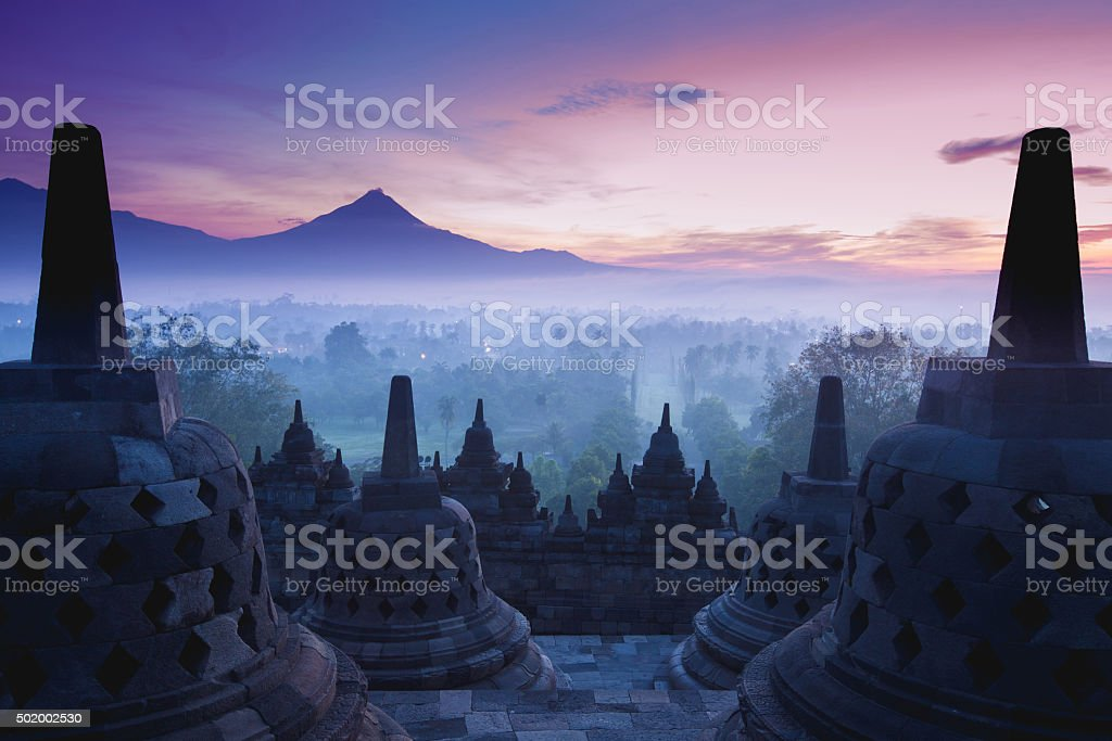 Borobudur Temple is sunrise, Yogyakarta, Java, stock photo