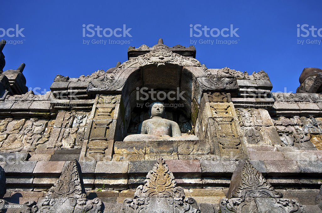 Borobudur temple near Yogyakarta on Java island, Indonesia stock photo
