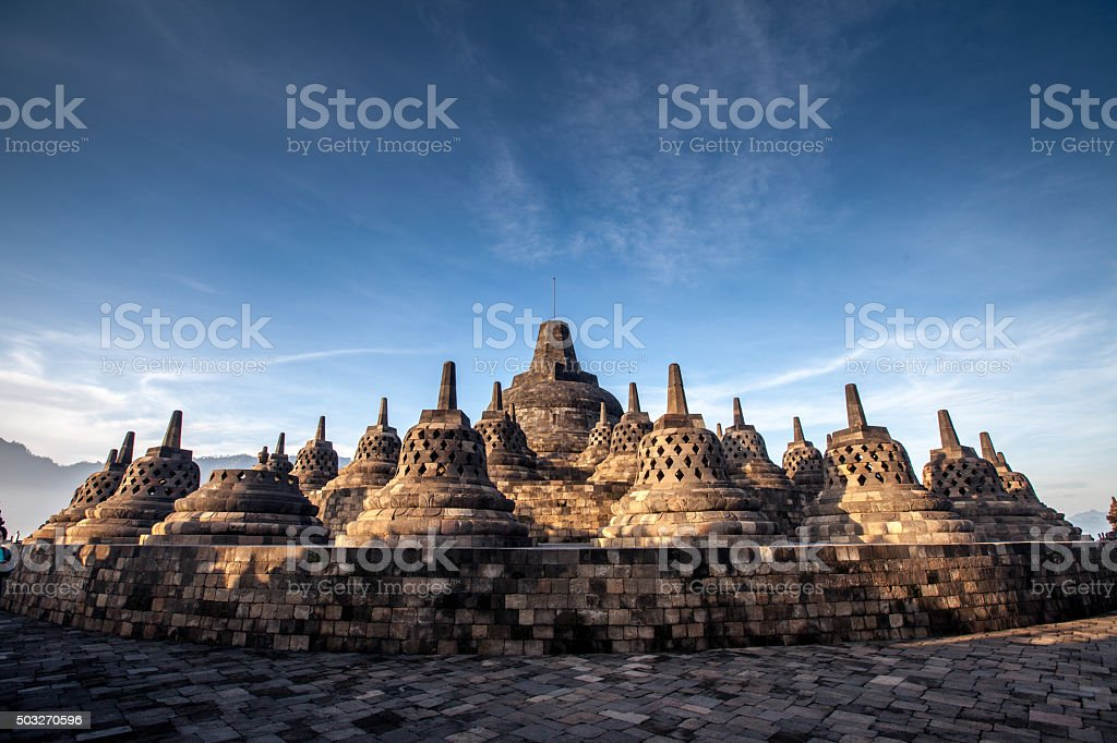 Borobudur Temple.Blue sky Yogyakarta, Java stock photo