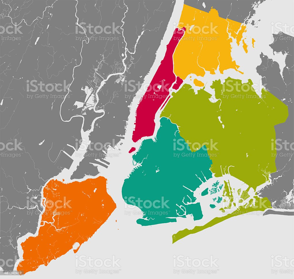 Boroughs of New York City - outline map. stock photo