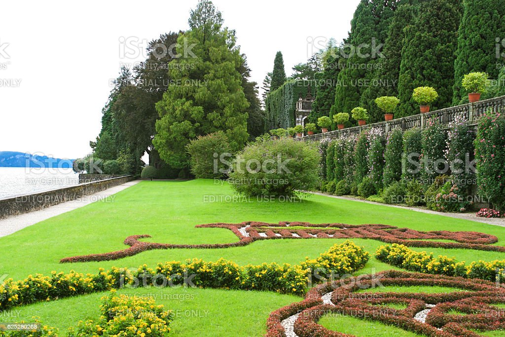 Borromeo Palace Garden on Isola Bella, Lake Maggiore, Italy. stock photo