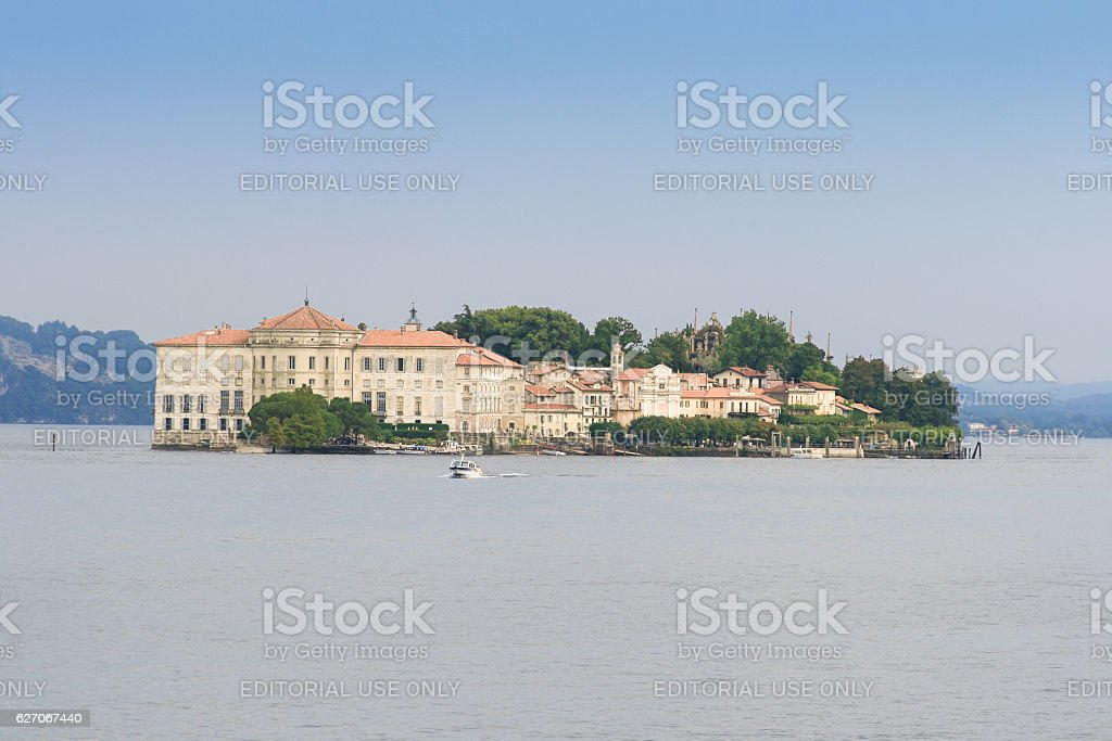 Borromeo Palace on  Isola Bella, Lake Maggiore and Alps, Italy. stock photo