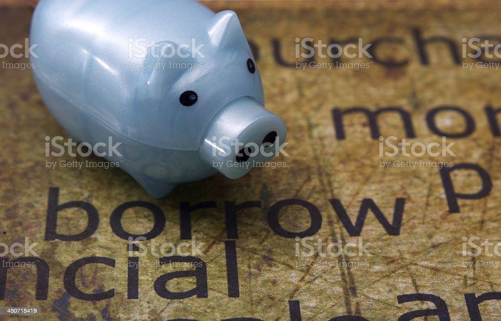 Borrow and piggy bank stock photo