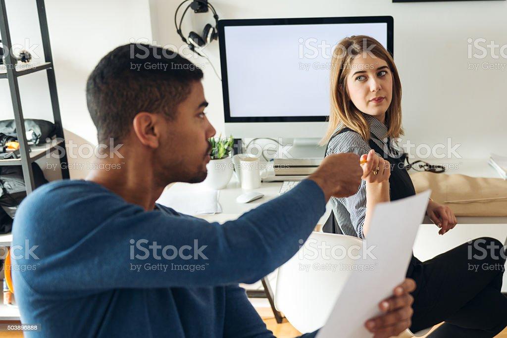 Borrowing a pen stock photo