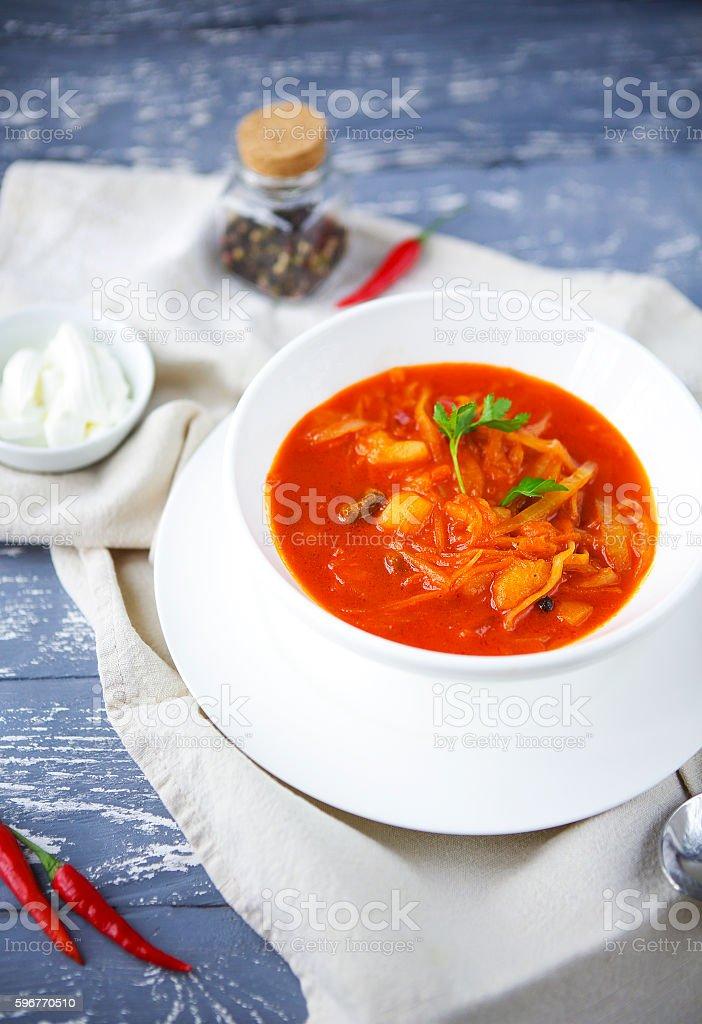 Borsch, russian national red soup stock photo