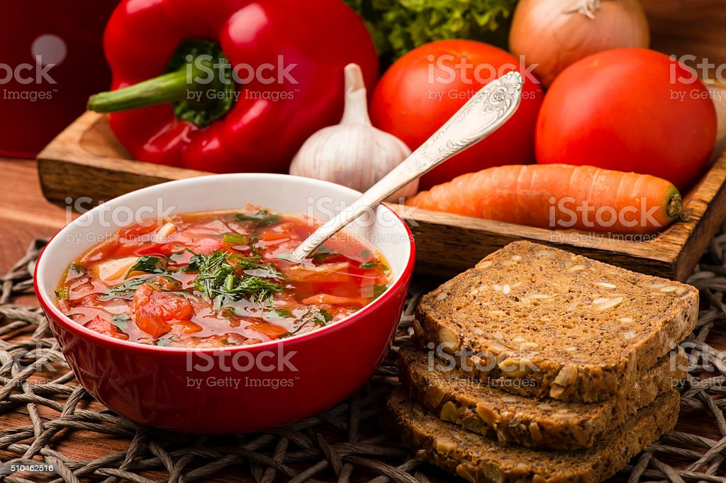 Borscht - traditional russian and ukranian beetroot soup. stock photo