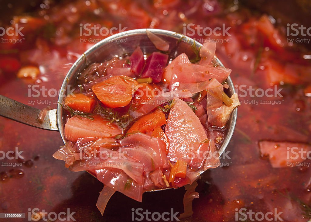 Borshch in a pan. stock photo