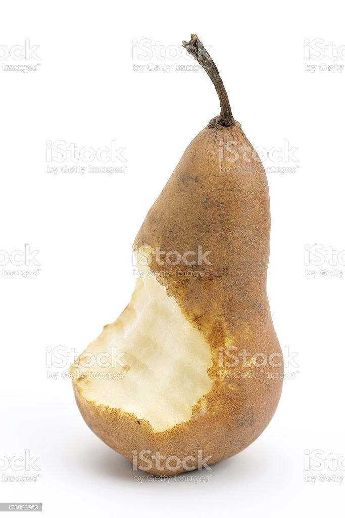 bosc pear with bite missing royalty-free stock photo