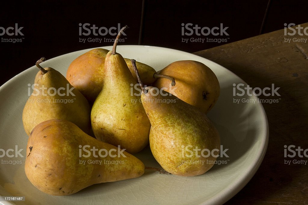 Bosc Pears on Plate stock photo