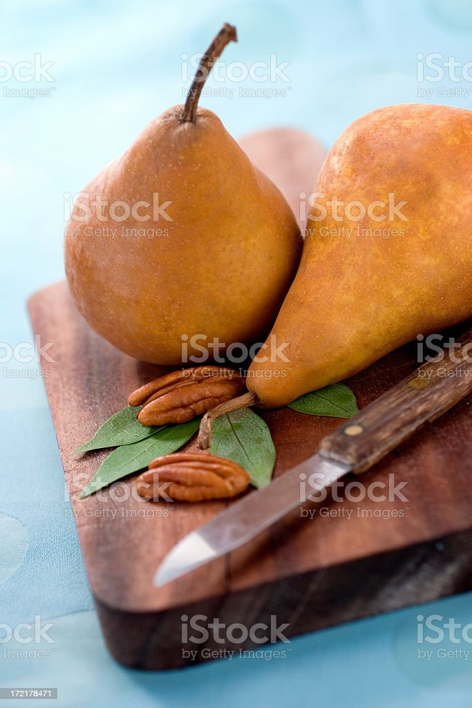 Bosc Pears & Pecans royalty-free stock photo