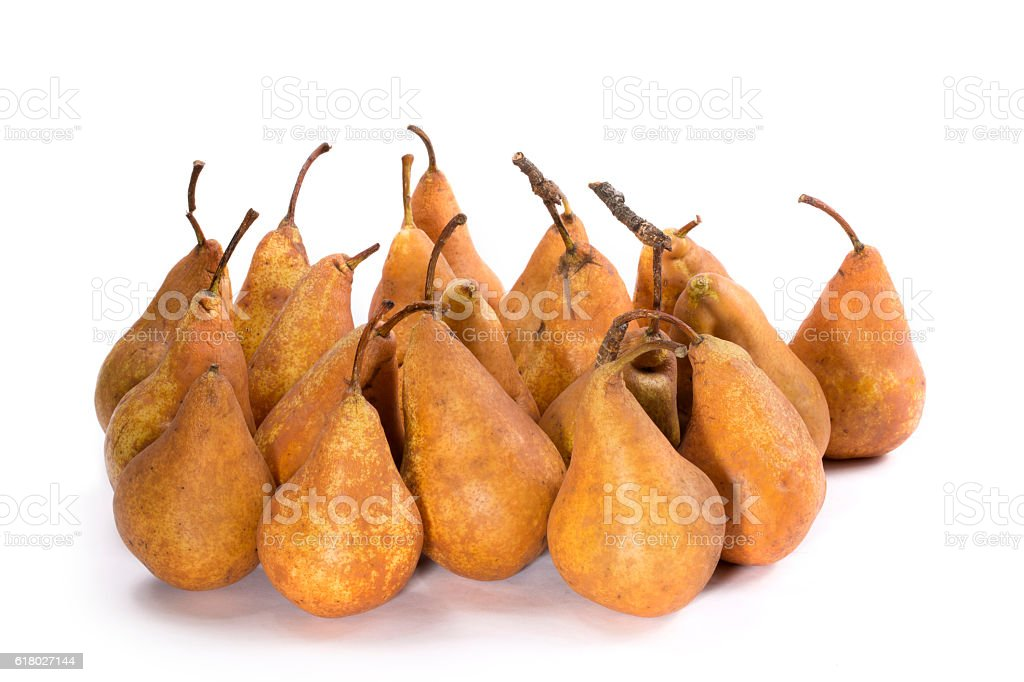 Bosc Pears varieties on a white background stock photo