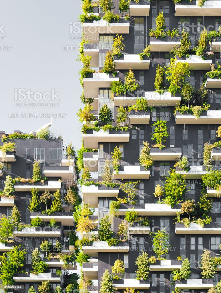 'Bosco Verticale', a complex of two residential towers in Milan stock photo