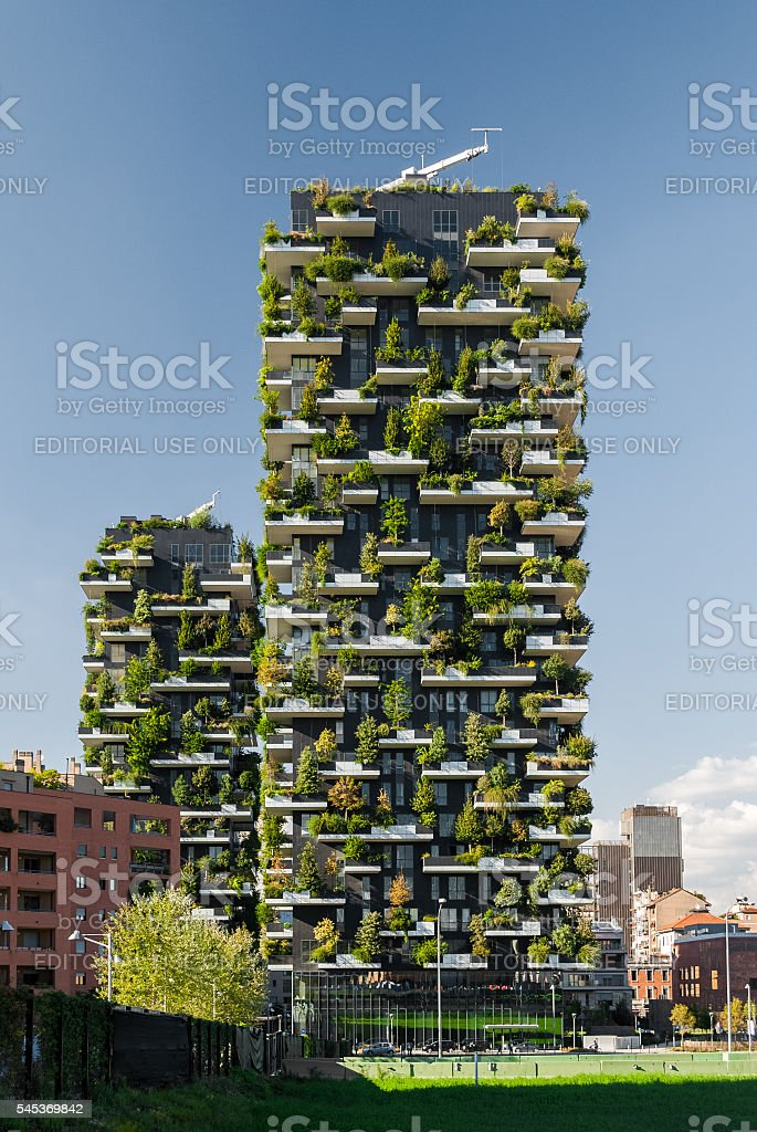 'Bosco Verticale', a pair of two residential towers in Milan stock photo