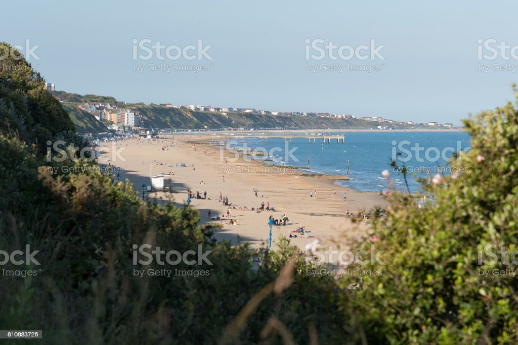 Boscombe beach and pier viewed from Bournemouth stock photo